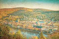Vintage view to old town of Heidelberg Royalty Free Stock Photo