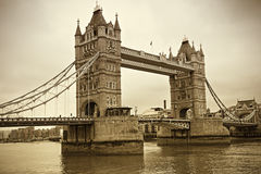 Vintage view of Tower Bridge, London Stock Photography