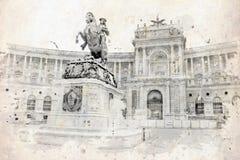 Vintage view of Vienna. On the grunge poster, grunge illustration Stock Photos