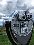 Close-up of a vintage viewfinder with storm clouds. Vintage viewfinder close up with the Pocono Mountains and storm clouds in the background stock images
