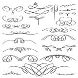 Vintage vignette set. Vector calligraphic collection. stock illustration