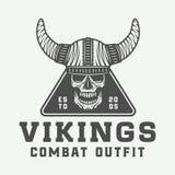 Vintage vikings logo, label, emblem, badge in retro style Stock Photos