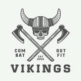 Vintage vikings logo, label, emblem, badge in retro style Royalty Free Stock Photo