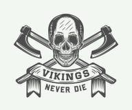 Vintage vikings motivational logo, emblem, badge in retro style Royalty Free Stock Photo