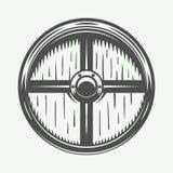 Vintage vikings shield. Can be used as logo, emblem, badge Royalty Free Stock Photo
