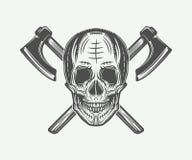 Vintage vikings skull logo, emblem, badge in retro style Stock Photography