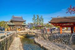 Vintage village on Miyajima Island, Japan. Miyajima Island, Hiroshima, Japan - April 12, 2018: Vintage village on Miyajima Island, Japan stock photos