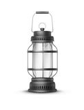 Vintage vintage lantern. Vector vintage black metal camp lantern front view isolated on white background Royalty Free Stock Photos