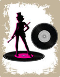 Vintage vinyl with dancing lady Royalty Free Stock Images