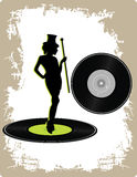Vintage vinyl with dancing lady Stock Image
