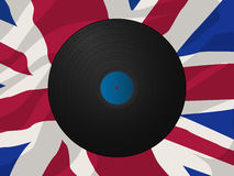 Vintage vinyl disk and Union Jack Stock Photo