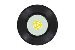 Vintage Vinyl Disk with Yellow Adapter Royalty Free Stock Photos