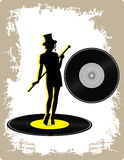 Vintage vinyl with lady Stock Photography