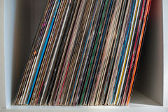 Vintage 33 vinyl long playing row on shelf. Detail Stock Images