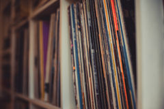 Vintage 33 vinyl long playing row on shelf royalty free stock photo