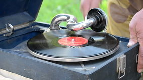 Vintage vinyl melody equipment, Military History Festival Peremoga.UA, Kiev, Ukraine, stock video footage