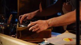 Vintage vinyl player in a studio. stock video footage