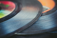 Vintage vinyl record groove close up Stock Images