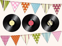 Vintage vinyl records and bunting background Royalty Free Stock Image