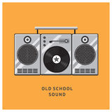 Vintage vinyl records player with dynamics. Old school style. Design template for posters and banners Royalty Free Stock Photo