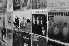 Vintage vinyl records pop and rock music stock photos