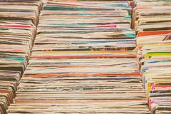 Vintage vinyl turntable records. On a flee market royalty free stock photography