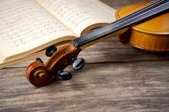 Vintage viola on sheet music Stock Images