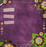 Vintage violet background with flowers Royalty Free Stock Image