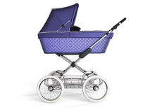 Vintage violet color design baby stroller. 3d render. Vintage violet color design baby stroller. 3d illustration Royalty Free Stock Photo