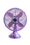 Vintage violet electric fan. On white background royalty free stock photo