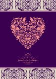 Vintage violet invitation with onate floral heart shape Stock Images
