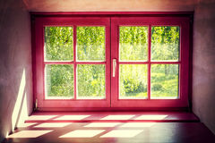 Vintage violet window Stock Photography