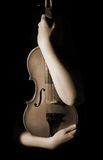 Vintage violin. Isolated on black Stock Photos