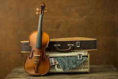 Vintage Violin And Case Stock Photo