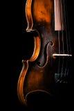 Vintage violin on black background Stock Photography