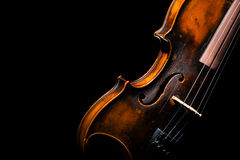 Vintage violin on black background Stock Image