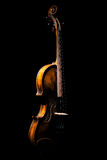 Vintage violin on black background Stock Images