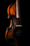 Vintage violin on black background Stock Photo