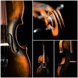 Vintage violin on black background Royalty Free Stock Image