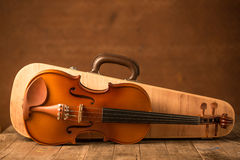 Vintage violin and case Royalty Free Stock Images