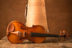 Vintage violin and case Stock Photography
