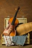 Vintage violin and case Stock Photos