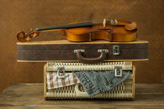 Vintage violin and case Royalty Free Stock Image