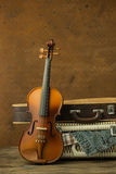 Vintage violin and case Royalty Free Stock Photography