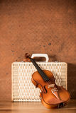 Vintage violin and luggage Stock Image