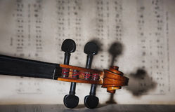 Vintage violin orchestra musical instruments. Old Violin orchestra musical instruments Royalty Free Stock Photography