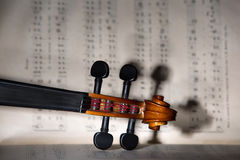 Vintage violin on the sheet music. Stock Photography