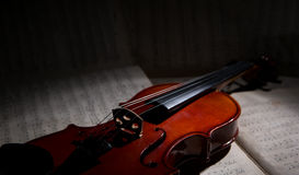 Vintage violin on the sheet music. Royalty Free Stock Image
