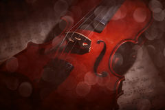 Vintage violin on the sheet music. Stock Images