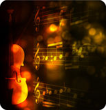 Vintage Violin Silhouette With Note Royalty Free Stock Image